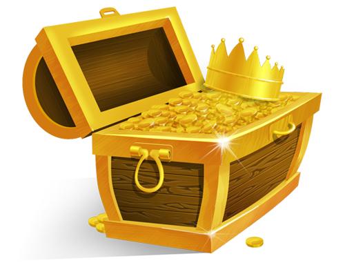 PSD GRATIS: Cofre Del Tesoro Con Monedas De Oro Y Corona