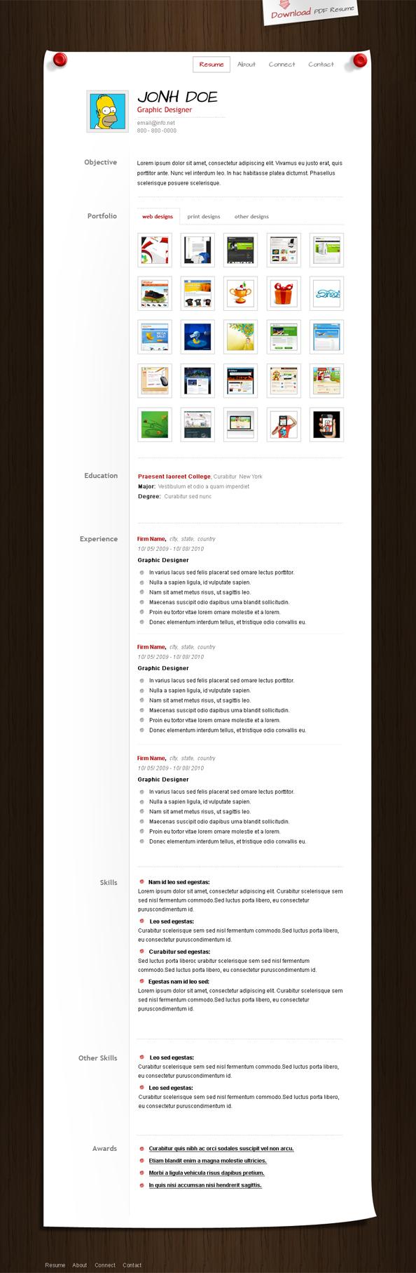 PSD GRATIS: Curriculum Vitae CV u Hoja de Vida para web secciones ...