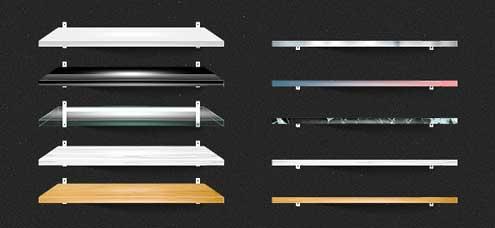 Archivo PSD de estantes, repisas para libros o floreros en tercera dimensión (también en 2D) en varios colores y/o estilos