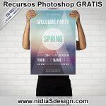 Este increíble Mockup de Poster para tu evento, fiesta de primavera o noche disco te será de mucha utilidad. Se trata de un cartel sostenida por un chico de pantalón negro, tras él una pared de ladrillo blanco.