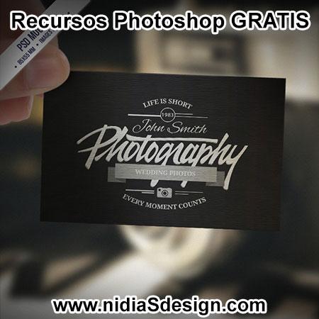 psd gratis mockup tarjeta de visita retro vintage para fotógrafo