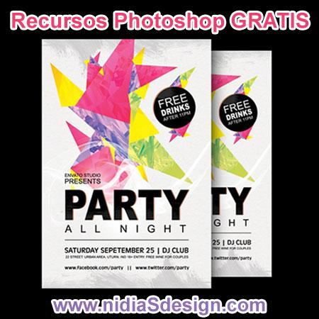 Colorido diseño de Poster de Fiesta, esta plantilla de Cartel para Festival musical es excelente para editar y colocar los datos de te evento. Archivo en formato .PSD para editar en Photoshop.