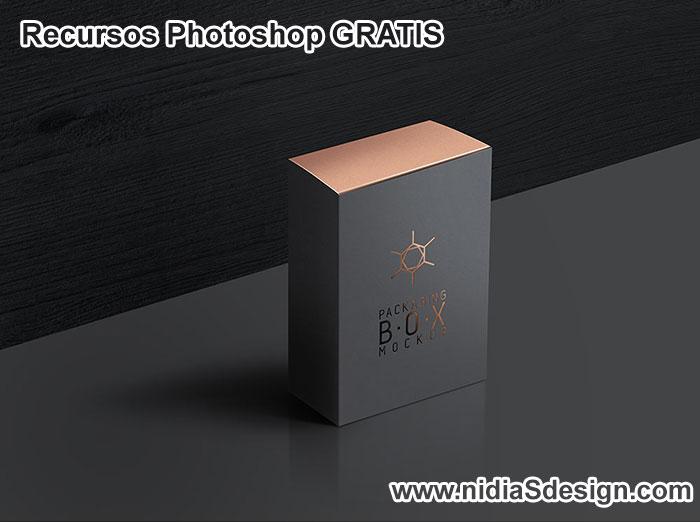 Plantilla .PSD de caja elegante de perfume para caballero. Pon el logo, marca y nombre de la loción o colonia de tu cliente en la caja para tus flyers y catálogos de esencias.