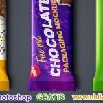 set de mockups para envase y embalaje de barras de chocolate