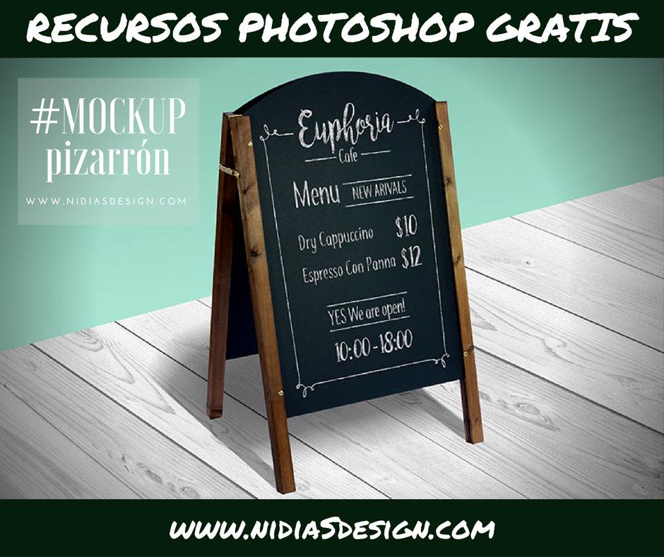 PSD GRATIS: #MOCKUP menú de café restaurant en pizarrón verde y gis ...
