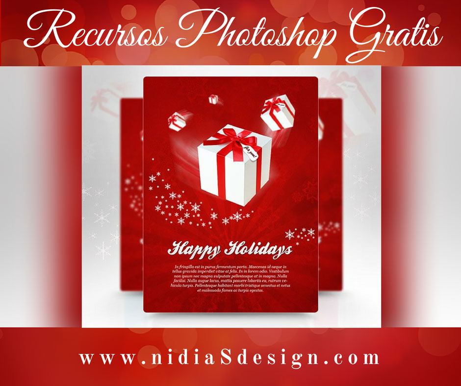 PSD GRATIS: Template flyer navideño con fondo rojo plantilla 300 dpi ...